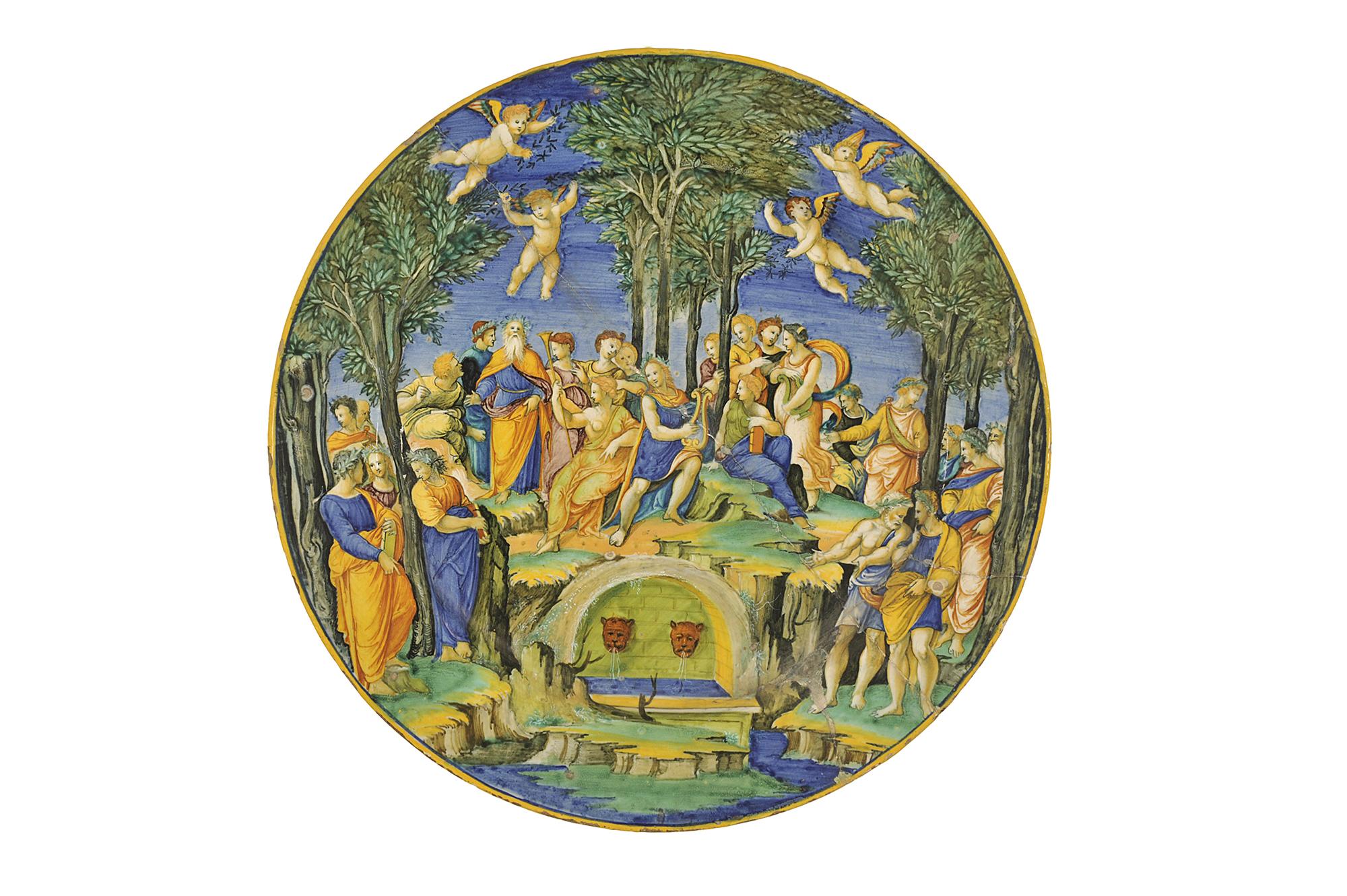 Le Parnasse, Guido FONTANA, faïence d'Urbino, Italie, vers 1530-1540