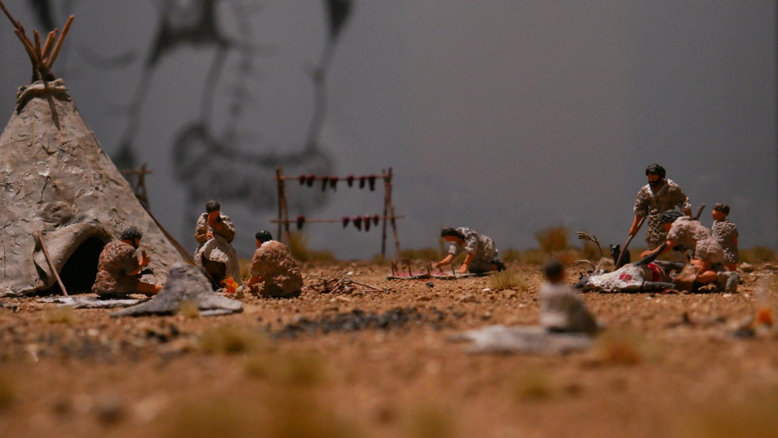 Maquette du campement de chasseurs de rennes de Verberie à l'époque magdalénienne (-12 500), réalisée par l'atelier Art du Petit