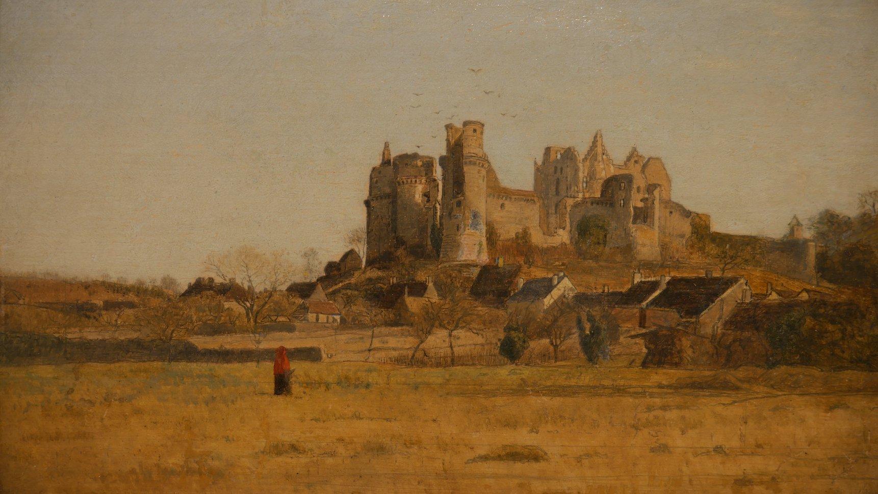 Ruines du château de Pierrefonds, Eugène LAVIEILLE, huile sur panneau, France, seconde moitié du XIXe siècle
